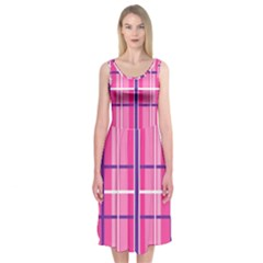 Gingham Hot Pink Navy White Midi Sleeveless Dress