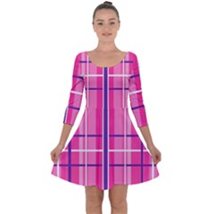Gingham Hot Pink Navy White Quarter Sleeve Skater Dress