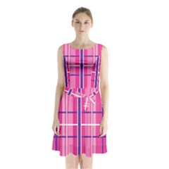 Gingham Hot Pink Navy White Sleeveless Waist Tie Chiffon Dress
