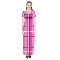 Gingham Hot Pink Navy White Short Sleeve Maxi Dress