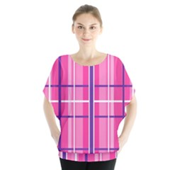 Gingham Hot Pink Navy White Blouse