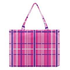 Gingham Hot Pink Navy White Medium Tote Bag