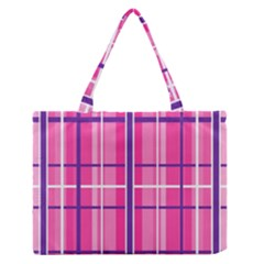 Gingham Hot Pink Navy White Zipper Medium Tote Bag