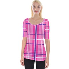 Gingham Hot Pink Navy White Wide Neckline Tee