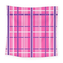Gingham Hot Pink Navy White Square Tapestry (large)