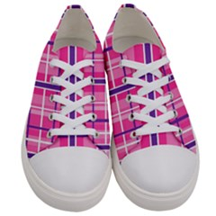 Gingham Hot Pink Navy White Women s Low Top Canvas Sneakers