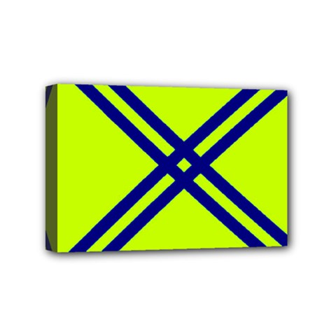 Stripes Angular Diagonal Lime Green Mini Canvas 6  X 4