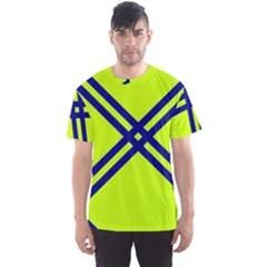 Stripes Angular Diagonal Lime Green Men s Sports Mesh Tee