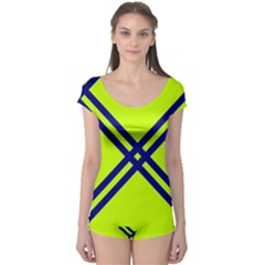 Stripes Angular Diagonal Lime Green Boyleg Leotard