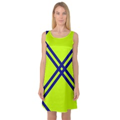 Stripes Angular Diagonal Lime Green Sleeveless Satin Nightdress
