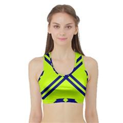 Stripes Angular Diagonal Lime Green Sports Bra With Border