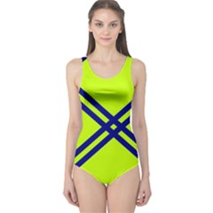 Stripes Angular Diagonal Lime Green One Piece Swimsuit