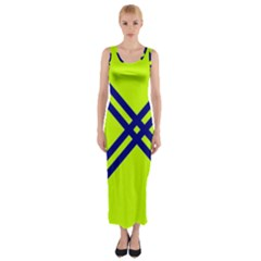Stripes Angular Diagonal Lime Green Fitted Maxi Dress
