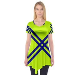 Stripes Angular Diagonal Lime Green Short Sleeve Tunic