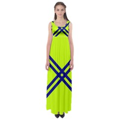 Stripes Angular Diagonal Lime Green Empire Waist Maxi Dress