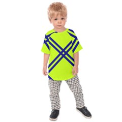 Stripes Angular Diagonal Lime Green Kids Raglan Tee