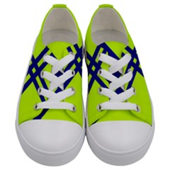 Stripes Angular Diagonal Lime Green Kids  Low Top Canvas Sneakers