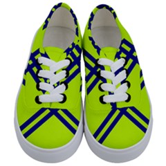 Stripes Angular Diagonal Lime Green Kids  Classic Low Top Sneakers