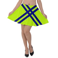 Stripes Angular Diagonal Lime Green Velvet Skater Skirt