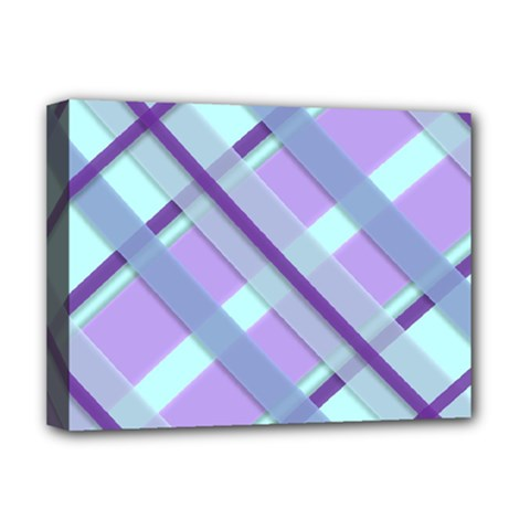 Diagonal Plaid Gingham Stripes Deluxe Canvas 16  X 12