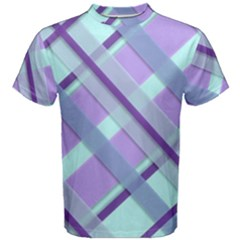 Diagonal Plaid Gingham Stripes Men s Cotton Tee