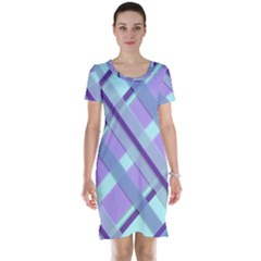 Diagonal Plaid Gingham Stripes Short Sleeve Nightdress