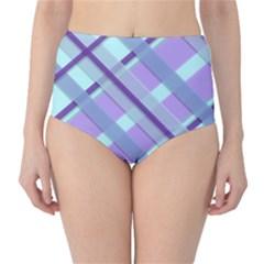 Diagonal Plaid Gingham Stripes High Waist Bikini Bottoms