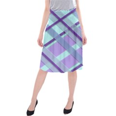 Diagonal Plaid Gingham Stripes Midi Beach Skirt