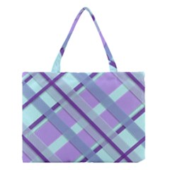 Diagonal Plaid Gingham Stripes Medium Tote Bag