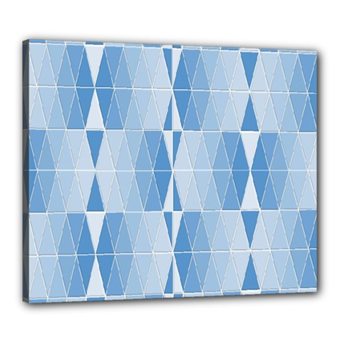 Blue Monochrome Geometric Design Canvas 24  X 20
