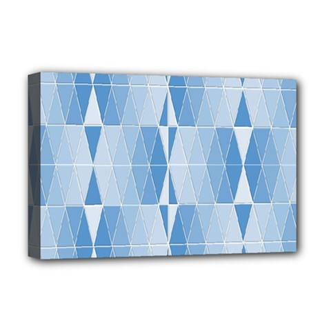 Blue Monochrome Geometric Design Deluxe Canvas 18  X 12