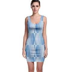 Blue Monochrome Geometric Design Bodycon Dress