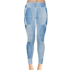 Blue Monochrome Geometric Design Leggings  by Nexatart