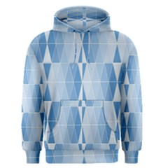 Blue Monochrome Geometric Design Men s Pullover Hoodie