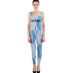Blue Monochrome Geometric Design One Piece Catsuit