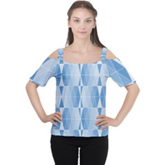 Blue Monochrome Geometric Design Cutout Shoulder Tee