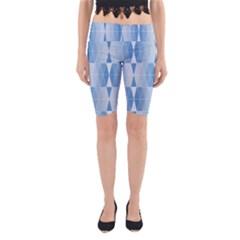 Blue Monochrome Geometric Design Yoga Cropped Leggings