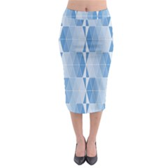 Blue Monochrome Geometric Design Midi Pencil Skirt by Nexatart