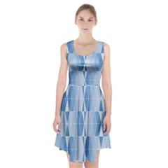 Blue Monochrome Geometric Design Racerback Midi Dress