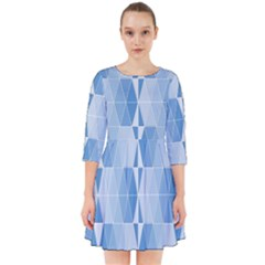 Blue Monochrome Geometric Design Smock Dress
