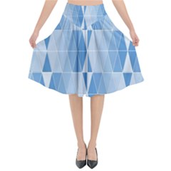 Blue Monochrome Geometric Design Flared Midi Skirt