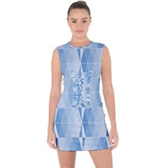 Blue Monochrome Geometric Design Lace Up Front Bodycon Dress
