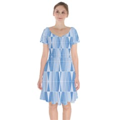 Blue Monochrome Geometric Design Short Sleeve Bardot Dress
