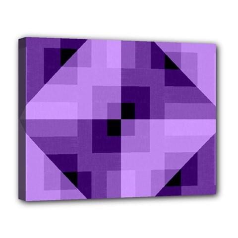 Purple Geometric Cotton Fabric Canvas 14  X 11  by Nexatart
