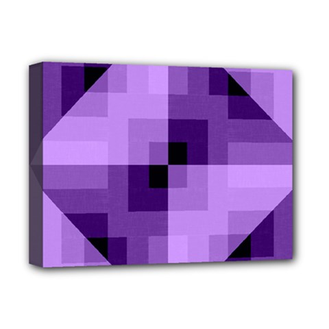 Purple Geometric Cotton Fabric Deluxe Canvas 16  X 12