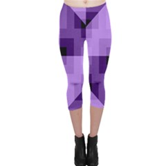 Purple Geometric Cotton Fabric Capri Leggings