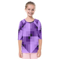 Purple Geometric Cotton Fabric Kids  Quarter Sleeve Raglan Tee