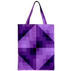 Purple Geometric Cotton Fabric Zipper Classic Tote Bag