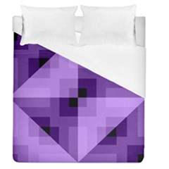 Purple Geometric Cotton Fabric Duvet Cover (queen Size) by Nexatart