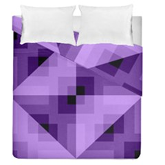 Purple Geometric Cotton Fabric Duvet Cover Double Side (queen Size) by Nexatart